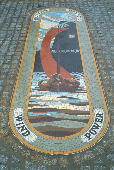 """""""Wind Power"""" Sleaford River Walk, Lincolnshire. 300cm x 90cm. One of three mosaics illustrating methods of moving goods along the River Slea."""