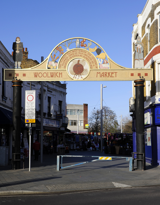 """""""Gateway to Woolwich Market"""" London. Steel and porcelain mosaic. 9 mtrs x 9 mtrs."""
